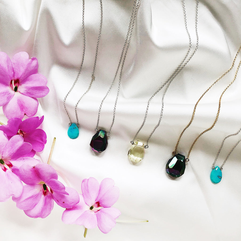 Third & Co. Studio faceted teardrop gemstone necklaces on vermeil and sterling silver fine chain, available both wholesale and retail
