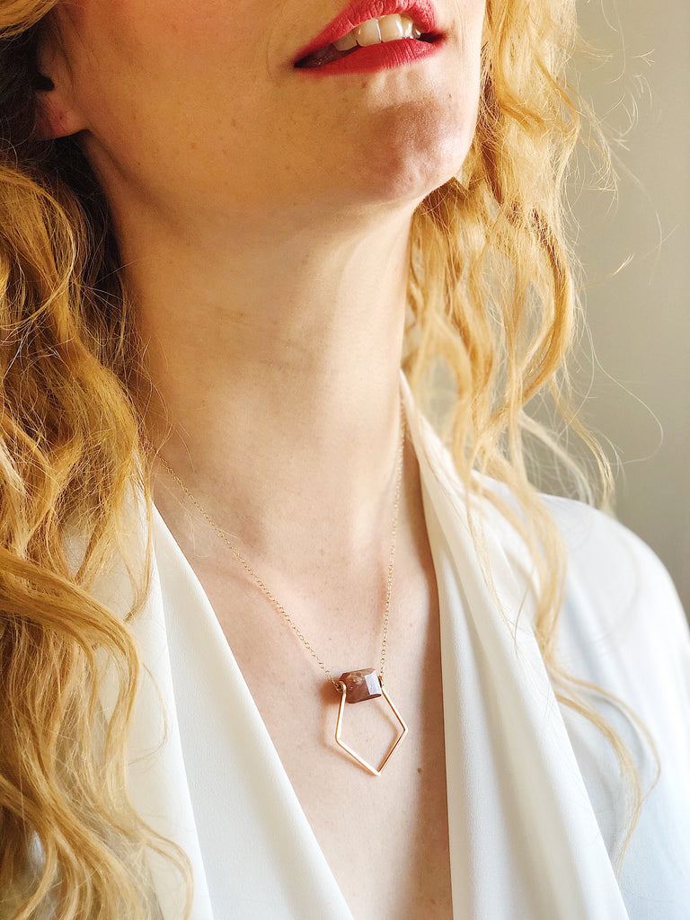 Third & Co. Studio 14k gold fill geometric necklace and faceted sunstone handmade necklace, made in Michigan