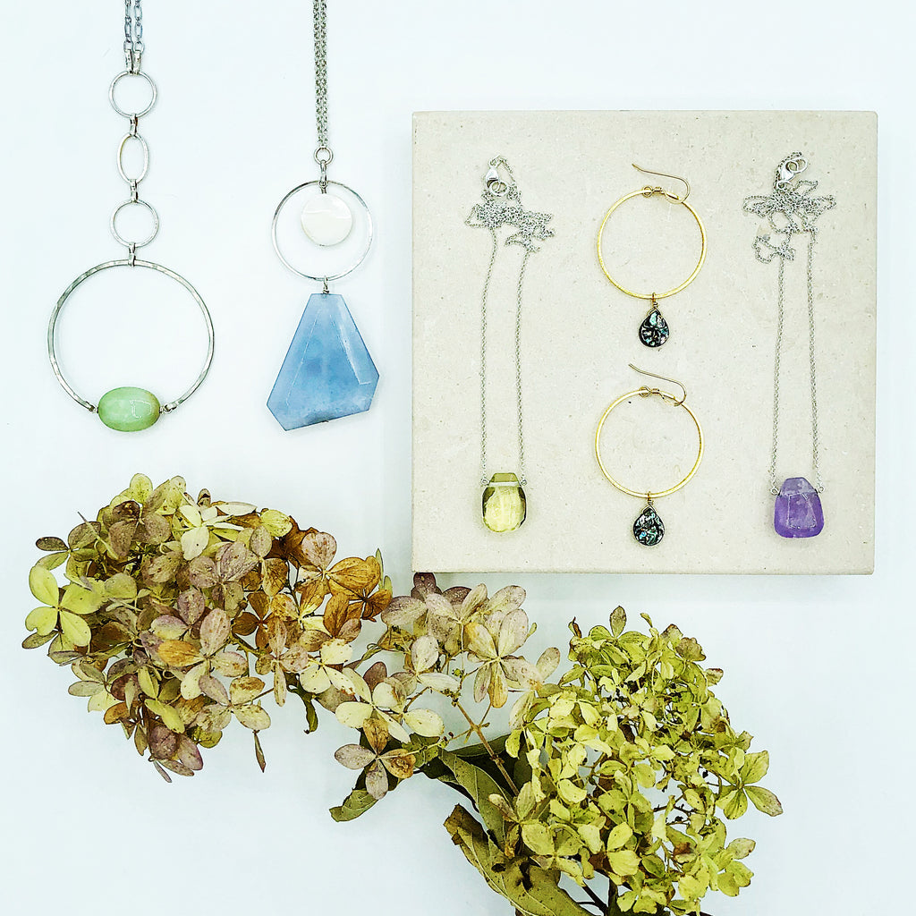 Third & Co. Studio small batch semiprecious stone jewelry collection, made in Michigan, handmade necklace, chalcedony, abalone, amethyst and lemon topaz necklaces available for wholesale on Faire