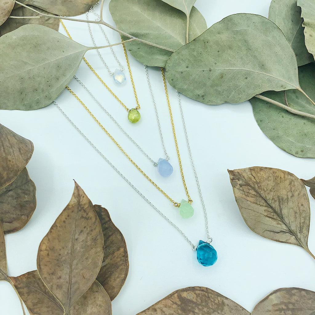 Faceted teardrop necklaces in semiprecious stone and fine chain; quartz, garnet, and opalite with sterling silver or vermeil chain, handmade in Michigan by woman owned and operated small business