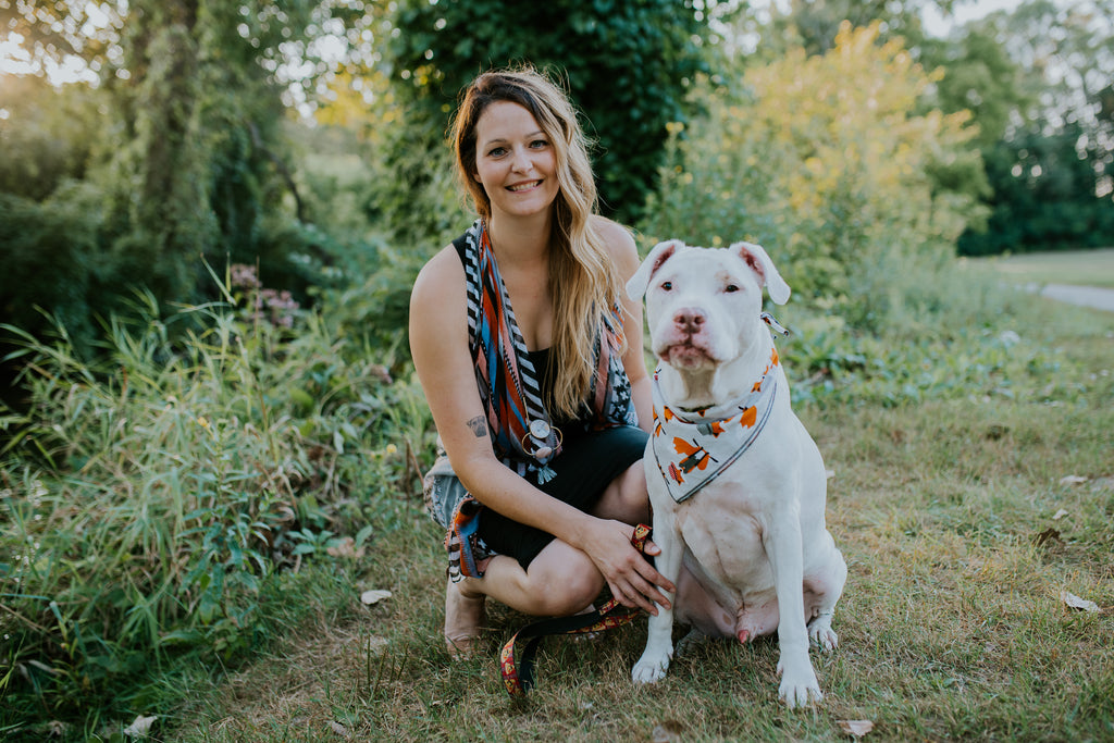 Third and co Studio handmade semiprecious stone jewelry; donates proceeds from each purchase to organizations involved in the rescue, rehabilitation and rehoming of pets in need, pictured with Hurley the retired therapy dog and a deaf rescued American Pit Bull Terrier