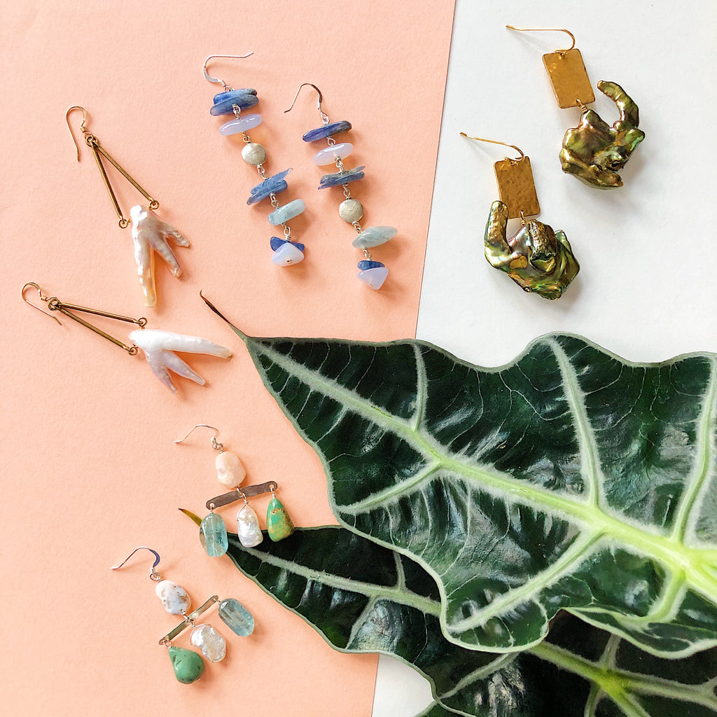 Statement earrings from Third & Co. Studio with Fresh Water Pearls, Kyanite, Aquamarine, Baroque Pearls, Opal, Sterling Silver and Vermeil ear wires