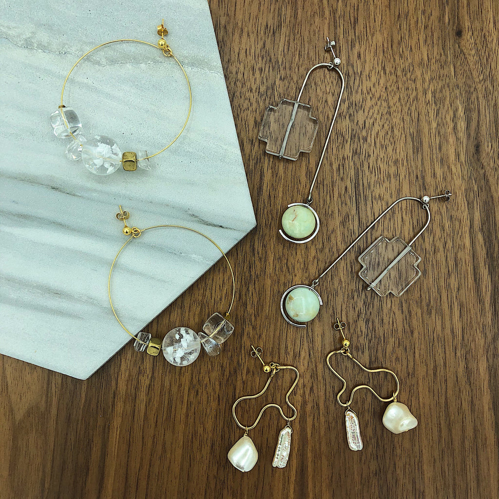 OOAK one-of-a-kind statement earrings with Quartz, Opal, Fresh Water Pearl, Mother of Pearl, sterling silver and gold from Third & Co. Studio