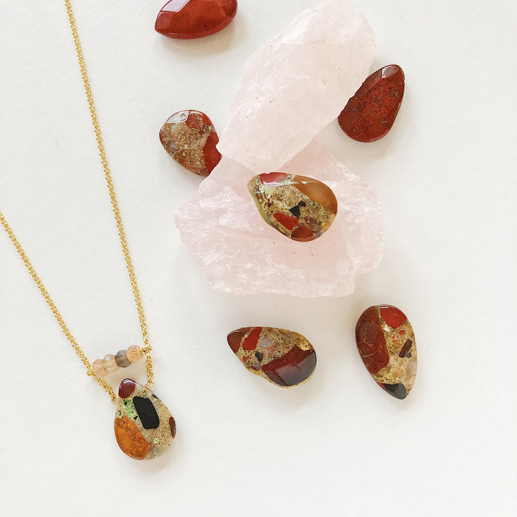 Spotted Chalcedony necklace by Third & Co. Studio in black, red orange, tan, gray and green with faceted peach moonstone on vermeil chain