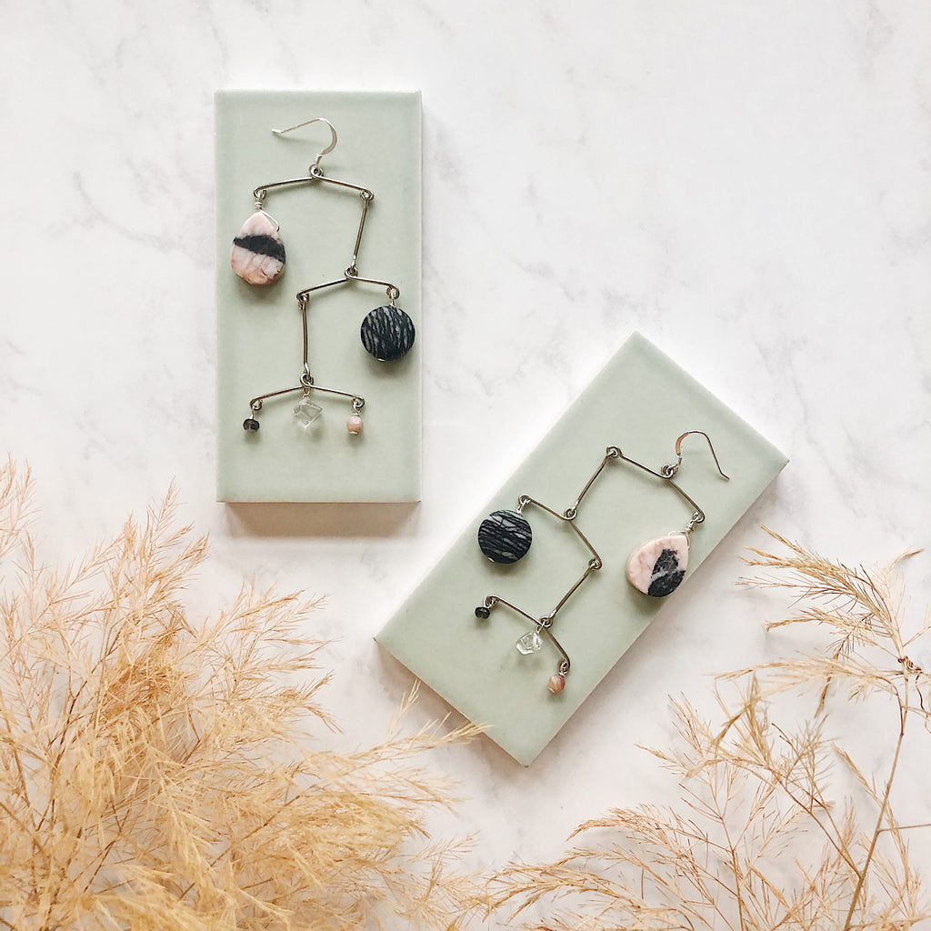 OOAK one-of-a-kind mobile earrings with pink and black marble teardrops, gray and black marble, faceted mother of pearl and quartz one of a kind silver earrings