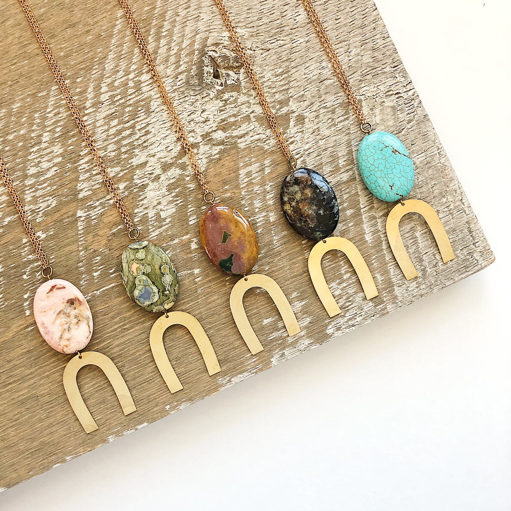 Third & Co. Studio handmade semiprecious stone necklaces, made in Michigan, made in the USA, Jasper, Turquoise and Opal with brass
