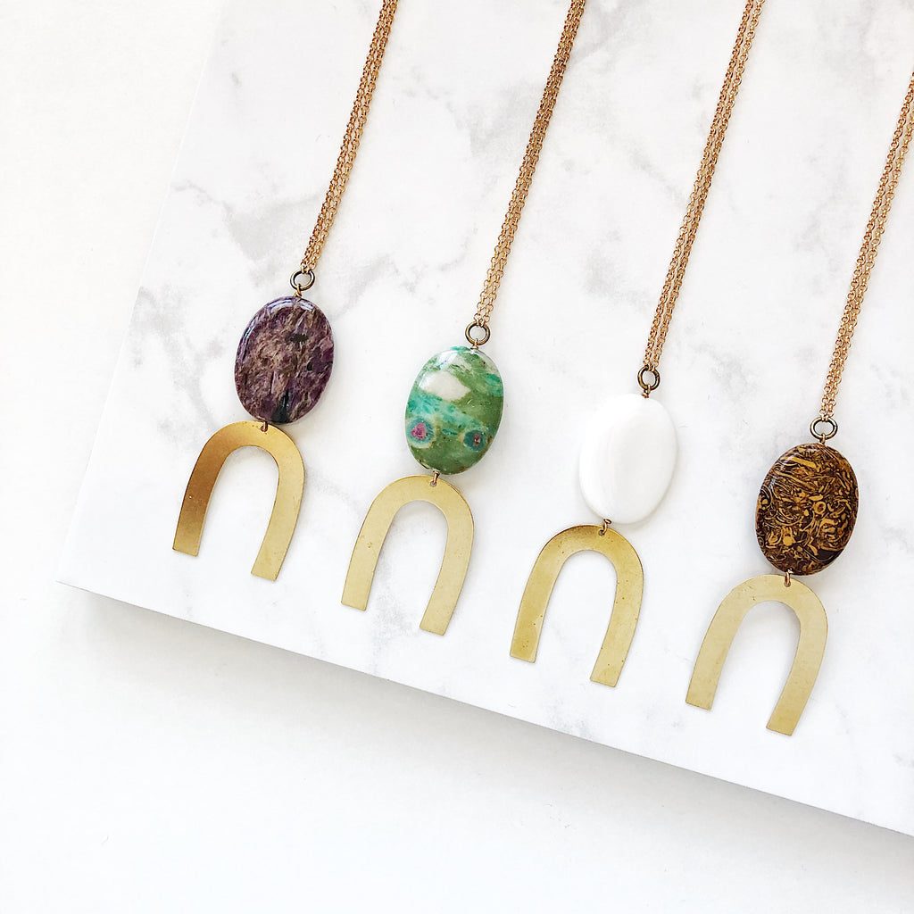 Third & Co. Studio handmade semiprecious stone necklaces, made in Michigan, made in the USA