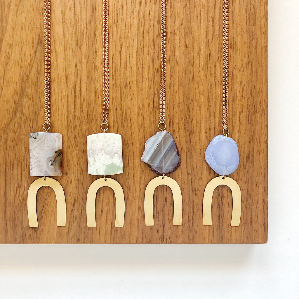 Third & Co. Studio semiprecious stone geometric and brass necklaces, great for gifts for you or a loved one!
