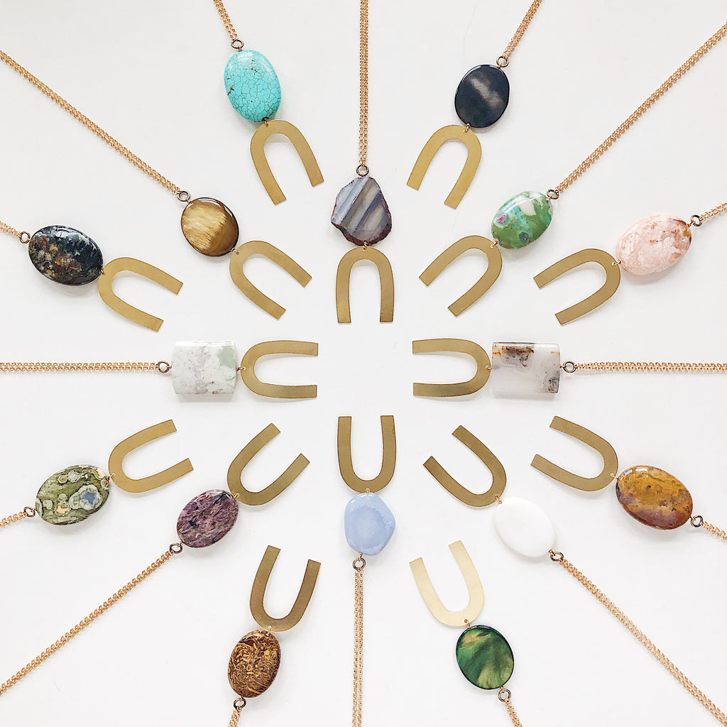 Third & Co. Studio simple stone geometric necklaces, great for a gift for you or a loved one!
