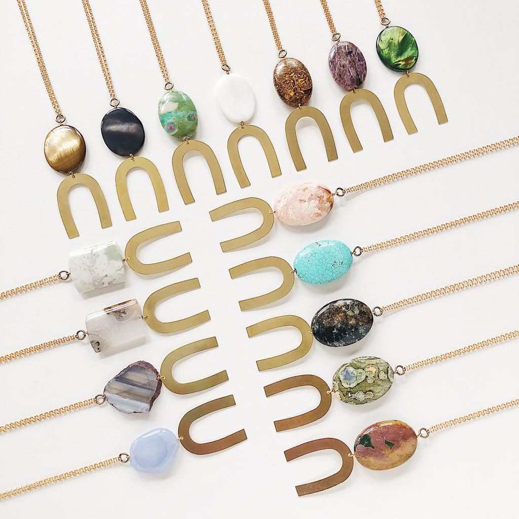 Third & Co. Studio handmade semiprecious stone necklaces, made in Michigan, made in the USA, geometric brass necklace