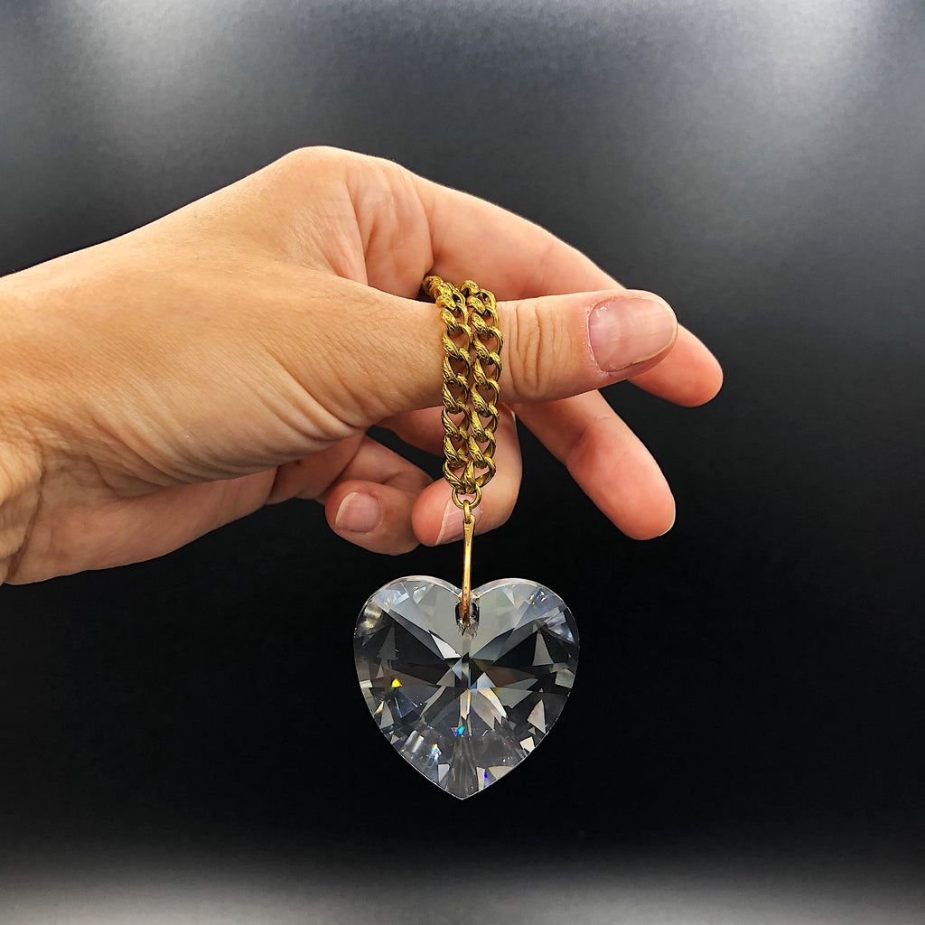 Faceted crystal heart necklace with vintage textured gold toned chain, handmade in Michigan from Third & Co. Studio of Grand Rapids