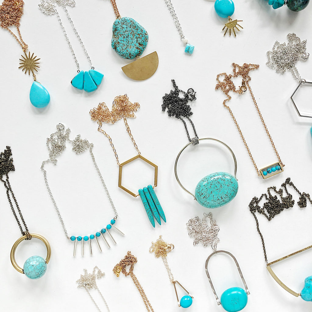 Third & Co. Studio handmade turquoise necklaces in silver and gold, made in Michigan available on Etsy and in person at markets in Grand Rapids