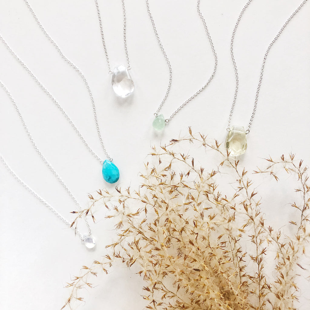 Faceted teardrop sleeping beauty turquoise, pineapple quartz, clear quartz, opaline and green chalcedony necklaces on sterling silver fine chain, handmade semiprecious stone jewelry