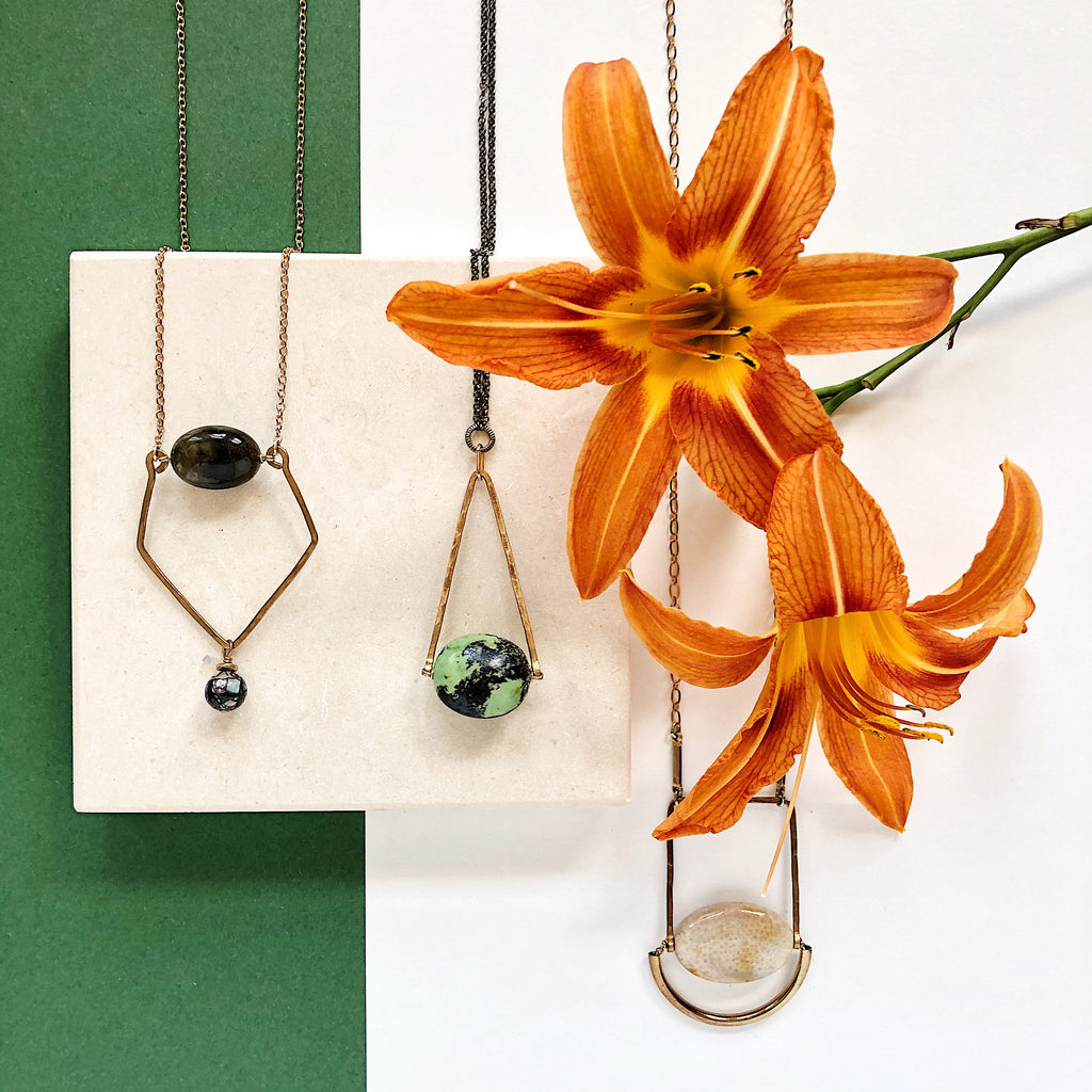 Third & Co. Studio handmade stone jewelry, made in Michigan, now available in Nestology Shop and Studio in Grand Rapids