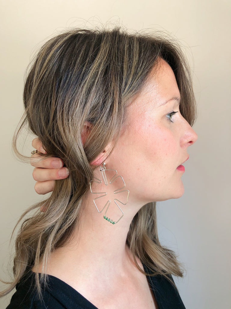 Third & Co. Studio handmade earrings monstera leaf wire design with green jade and sterling silver ear studs, made in Michigan