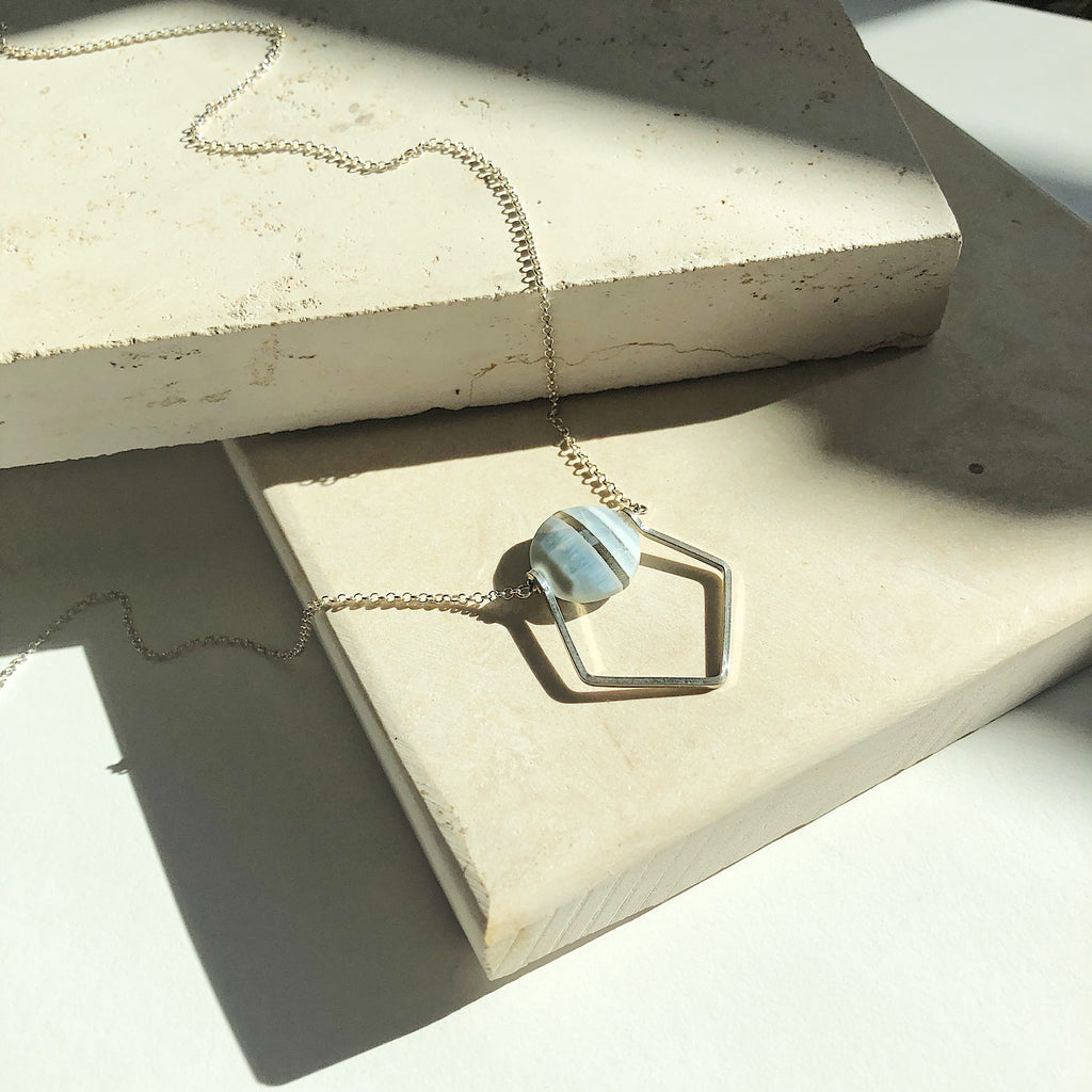 Third & Co. Studio semiprecious stone jewelry, one of a kind OOAK sterling silver and blue opal necklace, found in Thirdandcostudio Etsy Shop, handmade in Michigan