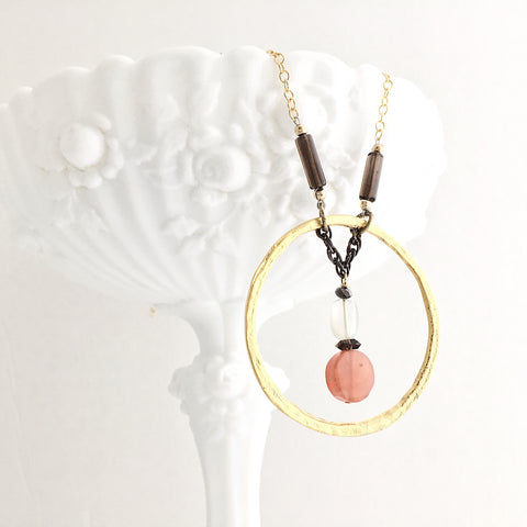 Reuben's Carnelian, Moonstone and Smokey Quartz Necklace