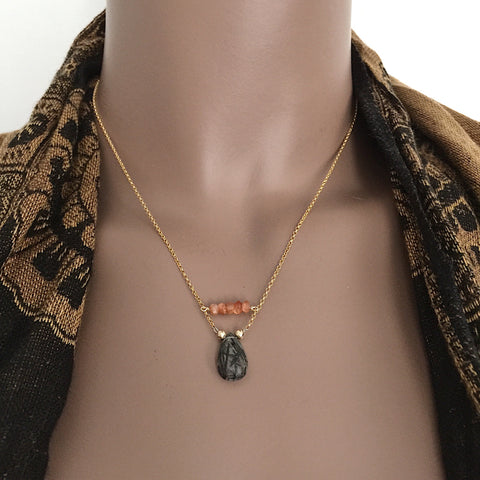 Reuben's Rutilated Quartz and Sunstone Necklace in Sterling Silver and Vermeil