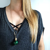 Green Agate and Abalone Necklace