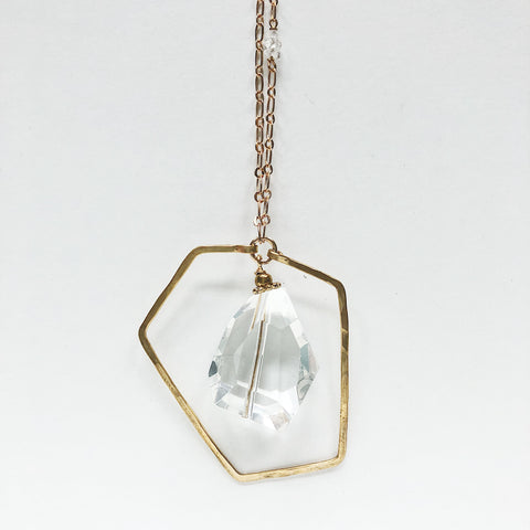 Faceted Crystal Quartz Nugget Necklace