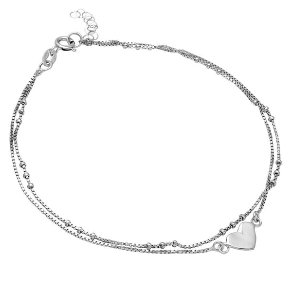 9.5 Inches Sterling Silver Beaded Box Chain Anklet