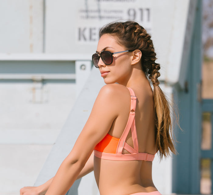 BONDI AQUA BRA // FLAME & GRAPEFRUIT - Nayali - Activewear for D Cup & Up