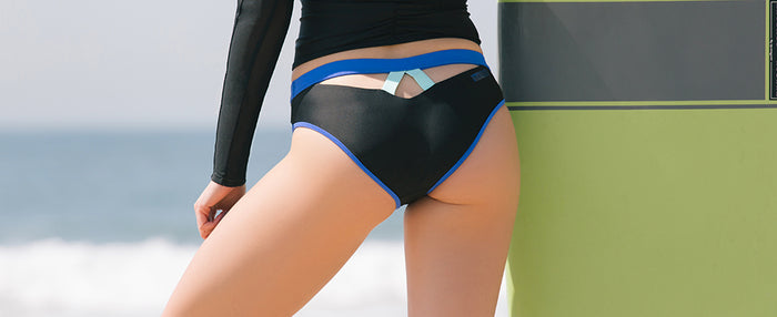 BONDI AQUA BOTTOM // BLACK & INDIGO - Nayali - Activewear for D Cup & Up