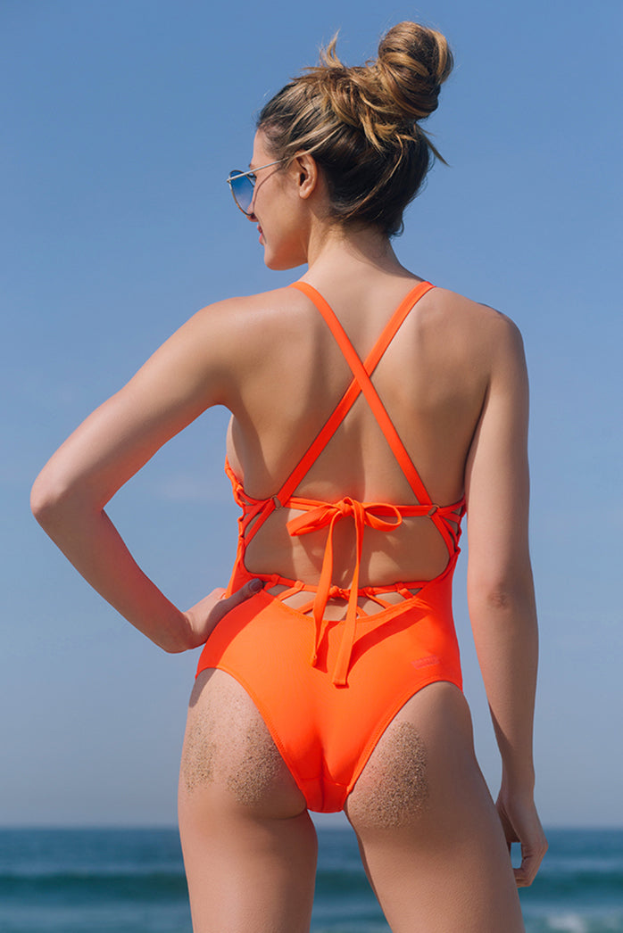 BELLS BEACH 1PC SWIMSUIT // FLAME - Nayali - Activewear for A-G Cup