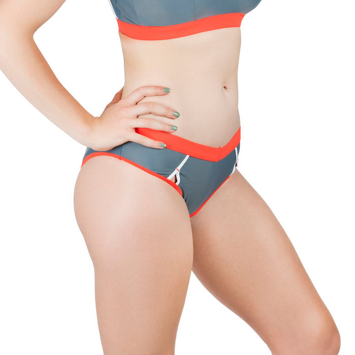 BONDI AQUA BOTTOM // SLATE & FLAME - Nayali - Activewear for D Cup & Up