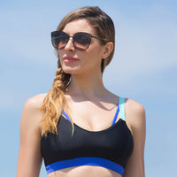 BONDI AQUA BRA //  BLACK & INDIGO - Nayali - Activewear for D Cup & Up
