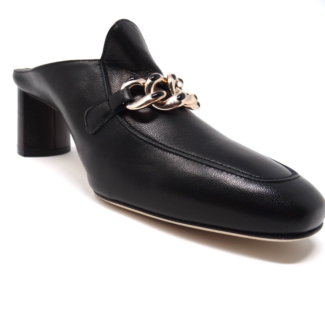 Available in Size 7,8,9,10,11,12 Handmade in Italy Comfortable Mule//Sabot in Black Leather Ferresi Black Leather Chunky Heel Mule for Women- Wide Width