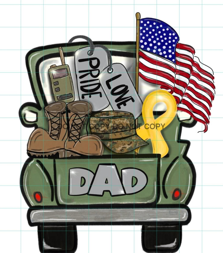 Adult Military Dad Truck Sublimation Transfer