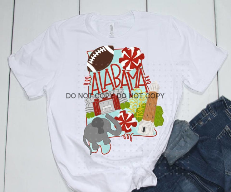 Adult State And Team Sublimation Transfers Alabama