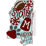 Adult State And Team Sublimation Transfers Mississippi