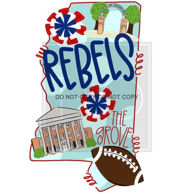 Adult State And Team Sublimation Transfers Ole Miss Rebels