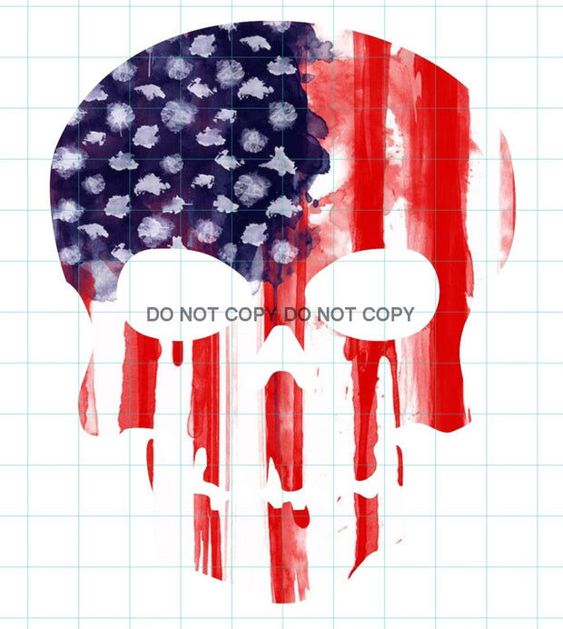 American Flag Skull Sublimation Transfer