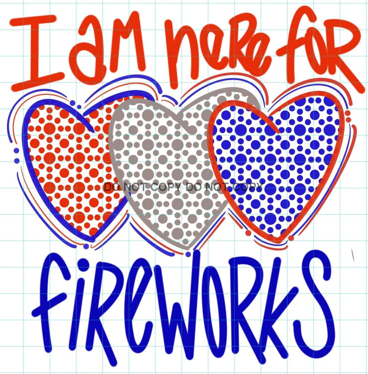 Hearts Here For Fireworks Sublimation Transfer
