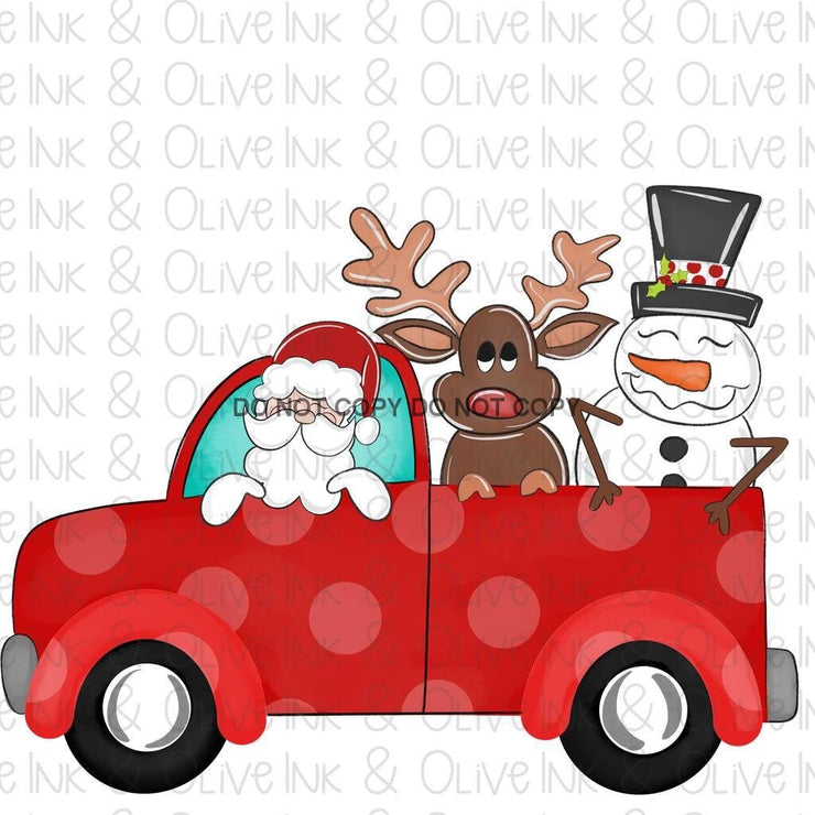 Holiday Truck With Santa And Friends Sublimation Transfer