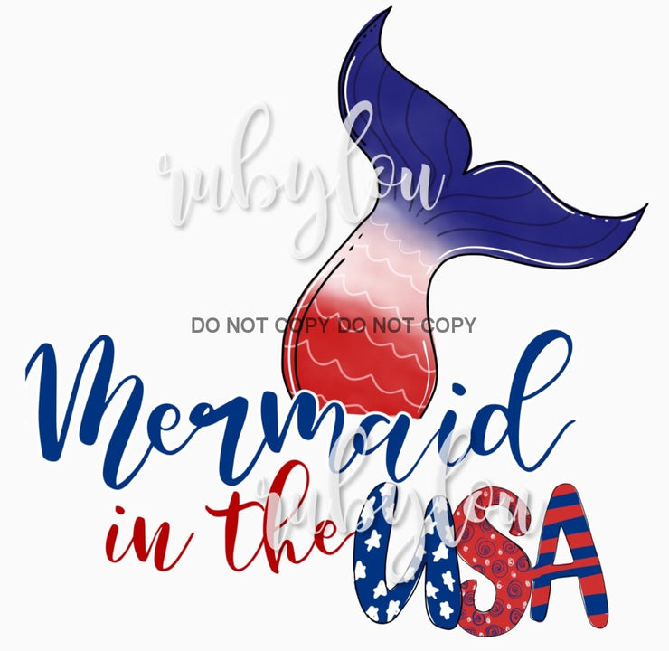Mermaid In The Usa Sublimation Transfer