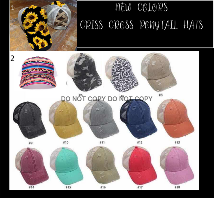New Colors! Criss Cross Ponytail Hats