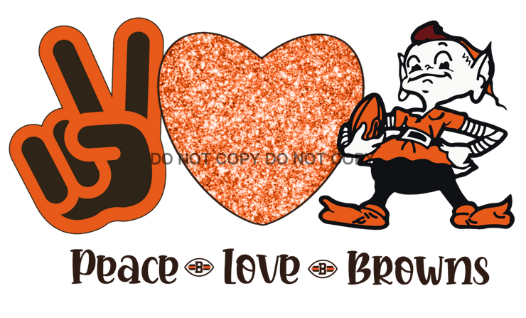 Peace Love Browns Sublimation Transfer Football