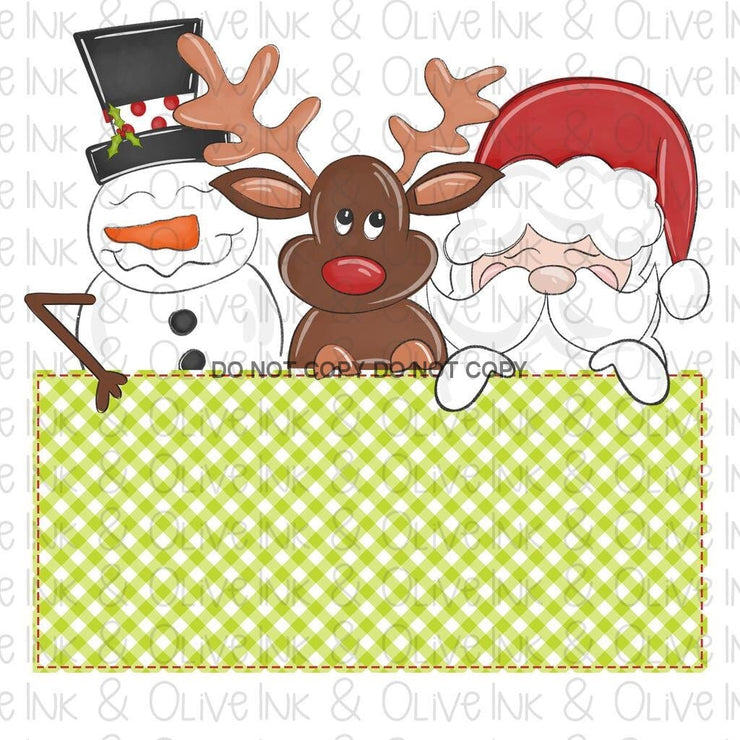 Santa And Friends Plaid Banner Sublimation Transfer