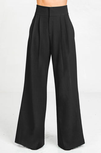Hight Waisted Double Pleated Front Wide Leg Pants