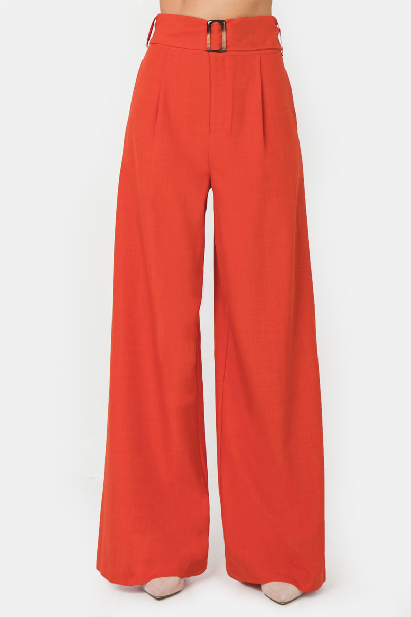 Hight Waisted Pleated Front Wide Leg Pants