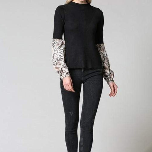 Fate Tops Black with Snake Print Sweater Top
