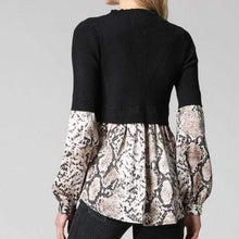 Load image into Gallery viewer, Black with Snake Print Sweater Top