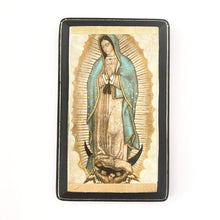 Francisco Javier Gifts Black/Orange Our Lady of Guadalupe Print on Wood
