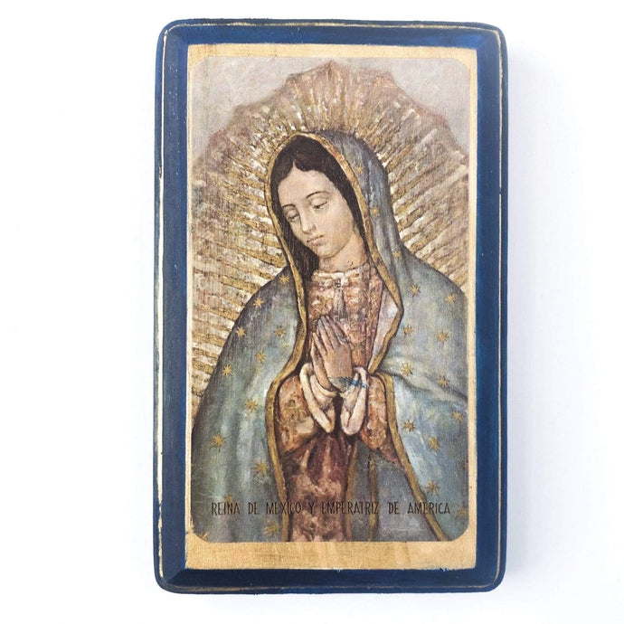 Francisco Javier Gifts Blue/Blue Our Lady of Guadalupe Print on Wood