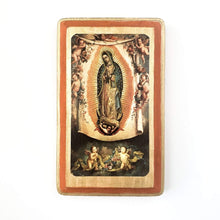 Francisco Javier Gifts Orange/Brown Our Lady of Guadalupe Print on Wood