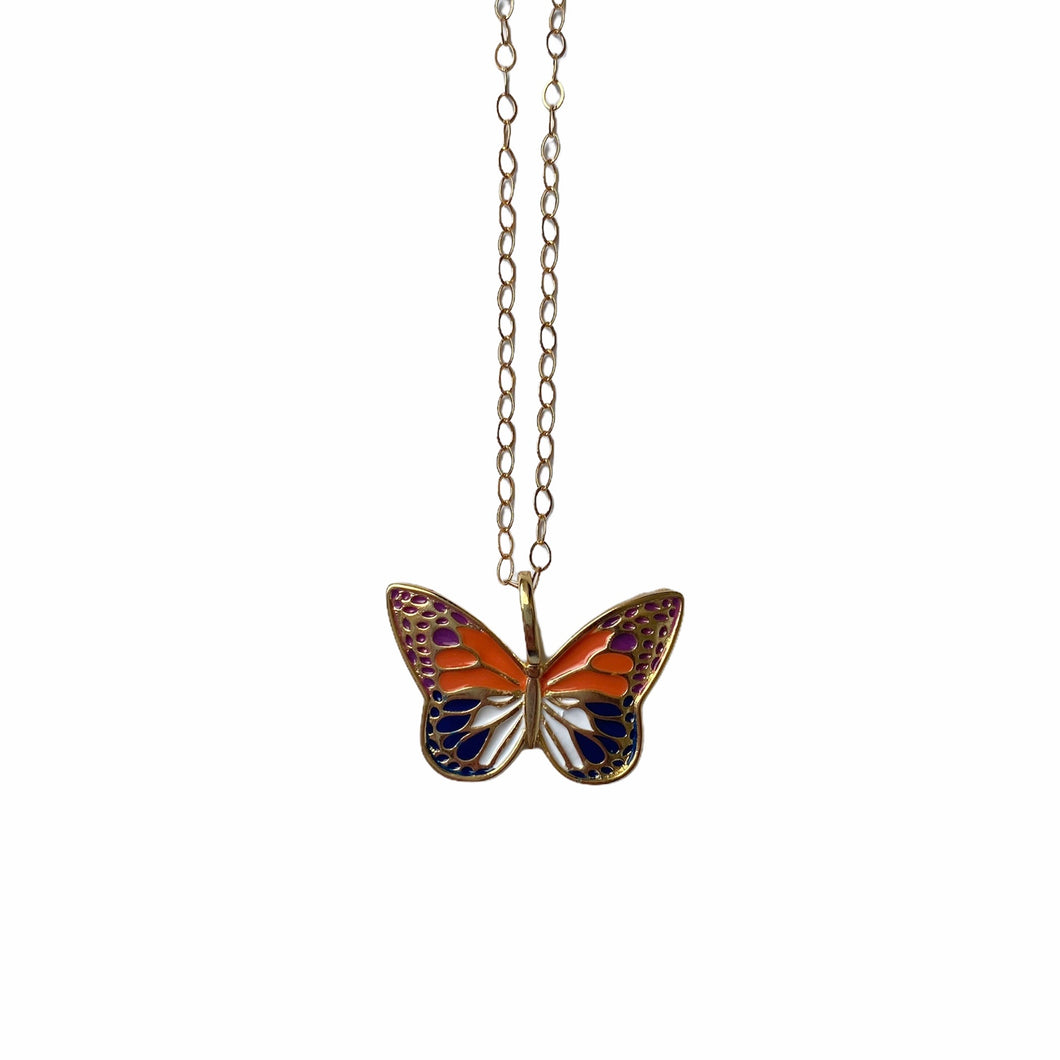 Colorful Butterfly Pendant Necklace